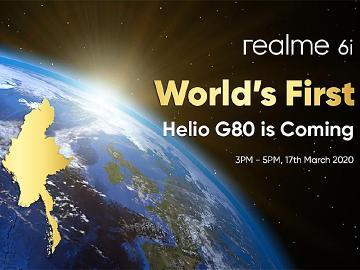 首款搭載聯發科G80手機 realme 6i緬甸3/17 發表